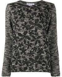 Comme des Garçons フローラル ニットセーター - ブラック