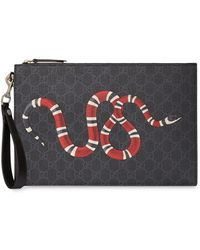 Gucci GG Black Pouch With Kingsnake