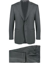 Canali ストライプ ツーピーススーツ - グレー