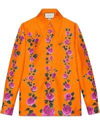 Gucci Rose Garden シャツ - オレンジ