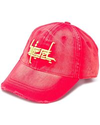 DIESEL Distressed embroidered baseball cap - Rouge