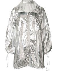 Juun.J Oversized Hooded Raincoat - Metallic