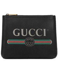 Gucci Kleine Aktentasche aus Leder mit Print - Schwarz