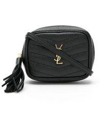 Saint Laurent Lou Camera Bag En Suède Matelassé Et Cuir Lisse - Black