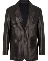 Fendi レザー シングルジャケット - ブラック