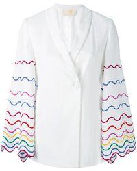 Sara Battaglia - Embroidered Sleeve Blazer - Lyst