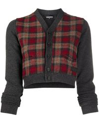 DSquared² Checked Cropped Cardigan - Grey
