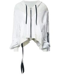 Unravel Project Zip Cropped Hoodie - Black