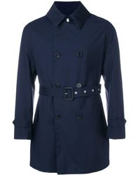 Mackintosh Navy Wool Storm System Short Trench Coat - Blauw
