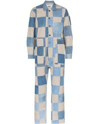Bode Checkered Patchwork Jumpsuit - Blue