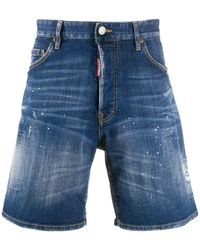 DSquared² Distressed Denim Shorts - Blue