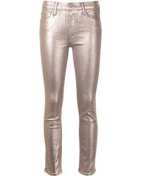 Mother Mid Waist Jeans - Metallic
