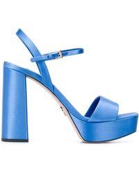 Prada Sandalen Met Chunky Plateauzool - Blauw