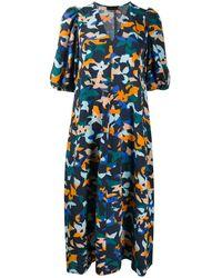 Stine Goya フローラル シフトドレス - ブルー