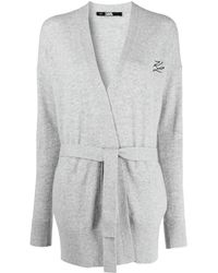Karl Lagerfeld Кардиган С Запахом И Поясом - Серый