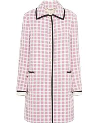 Miu Miu Straight Fit Tweed Coat - White
