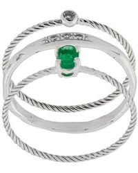 Wouters & Hendrix - Emerald & Diamond Set Of Three Rings - Lyst