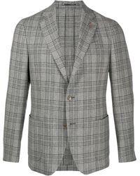 Lardini チェック シングルジャケット - グレー