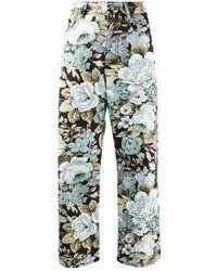 P.A.R.O.S.H. Denim Floral Print Cropped Jeans - Black