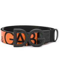 Dolce & Gabbana Riem Met Gesp En Logo - Zwart
