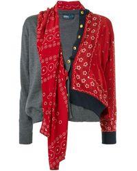Kolor Asymmetric Contrast Detail Cardigan - Red