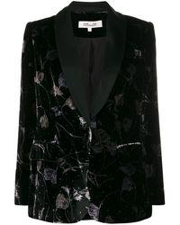 Diane von Furstenberg フローラル ベルベットジャケット - ブラック