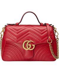 Gucci GG Marmont Zak Met Kleine Top Handvat - Rood