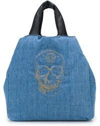 Philipp Plein Embroidered-skull Denim Tote - Blue