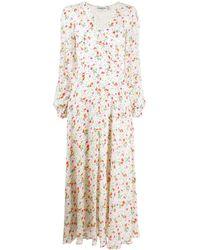 Essentiel Antwerp Long Floral Print Flared Dress - White