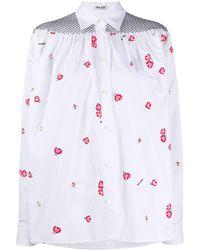 Miu Miu Floral Embroidered Shirt - White