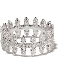 Annoushka 18kt White Gold Crown Diamond Ring - Multicolour