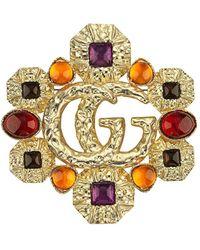 Gucci GG Cabochon Brooch - Metallic
