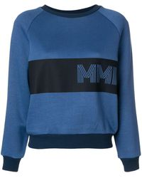 Mr & Mrs Italy Embroidered Colour-block Sweatshirt - Blue