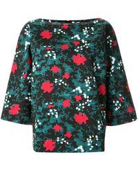 Marni Рубашка Свободного Кроя С Цветочным Принтом - Синий