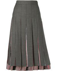 Thom Browne Step-hem Pleated Skirt - Gray