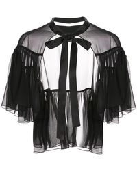 Kiki de Montparnasse リボンネック ケープドレス - ブラック