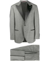 Brunello Cucinelli Glen チェック スーツ - グレー