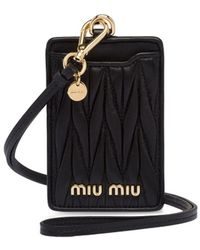 Miu Miu Matelassé Leather Card Holder - Black