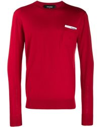 DSquared² Logo Pocket Chest Card Jumper - Red