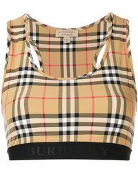 9d9f586c3cbb5 Lyst - Burberry Logo Stretch Jersey Bra Top in Black
