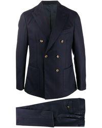 Eleventy ストライプ ダブルスーツ - ブルー