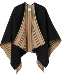 Burberry Heritage Icon Stripe Reverse Wool Poncho - Black