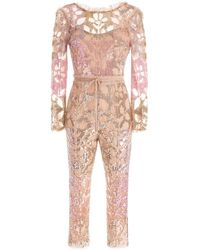 Needle & Thread Tiled Sequin Jumpsuit - Pink