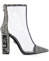 Philipp Plein Crystal Embellished 105mm Boots - Black