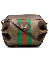 3d791d46643eb7 Gucci Vintage Web Medium Boston Bag in Black - Lyst