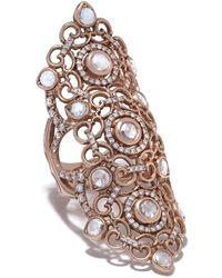 Loree Rodkin Anello lungo in oro rosa 14kt e pavé di diamanti - Metallizzato