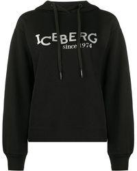 Iceberg ロゴ パーカー - ブラック