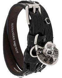 Alexander McQueen - Textured Buckled Cuff Bracelet - Lyst