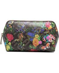 Furla Floral-print Textured Make Up Bag - Brown