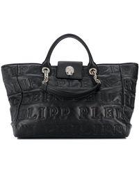 Philipp Plein Logo Embossed Tote Bag - Black